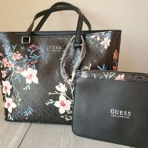Guess Black Floral Tote Bag and Wristlet S…